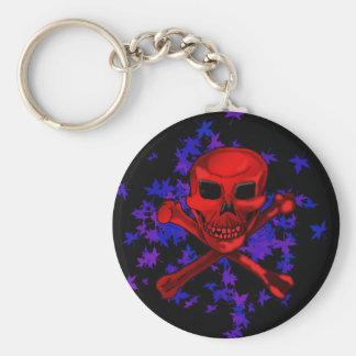bones n' leaves basic round button keychain