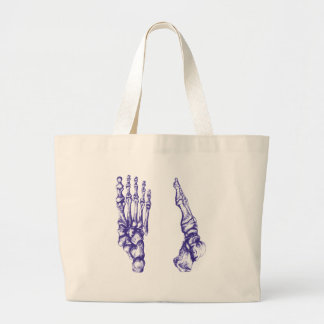 Bones of the feet - blue large tote bag