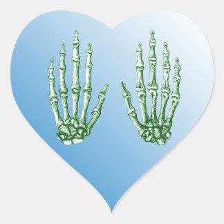 Bones of the Human Hand Heart Sticker