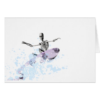 Bones on a surfboard greeting card