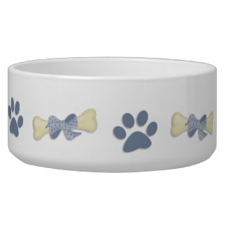 Bones Paws Blue Dog Bowl