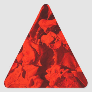 Bones with Teeth in Center in Red Triangle Sticker