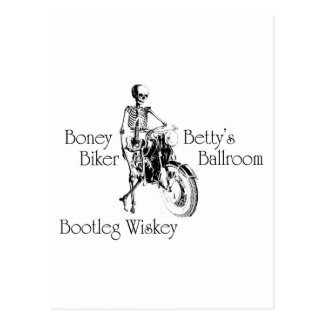 Boney Betty's Biker Ballroom Bootleg Wiskey Postcard