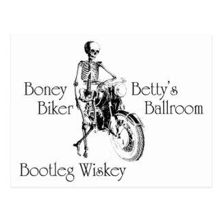 Boney Betty's Biker Ballroom Bootleg Wiskey Post Card