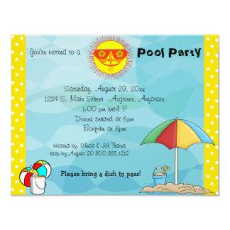 "Bonfire And Pool Party Celebration Invitation 4.25"" X 5.5"" Invitation Card"