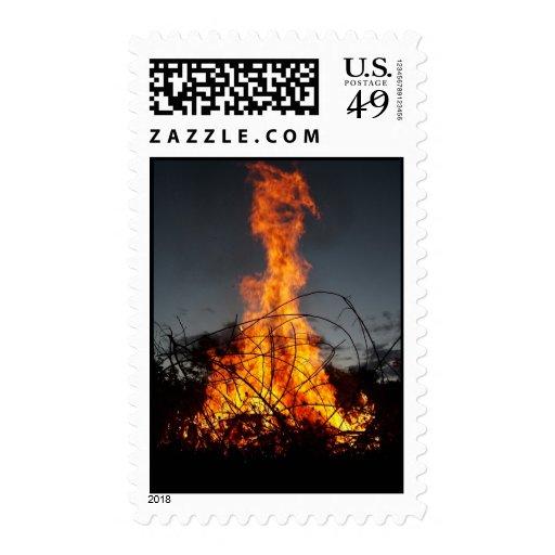 Bonfire at  Postage Stamps
