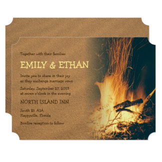 Bonfire Beach Wedding Card
