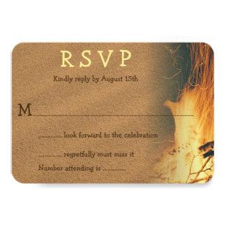 Bonfire Beach Wedding RSVP Enclosure Card