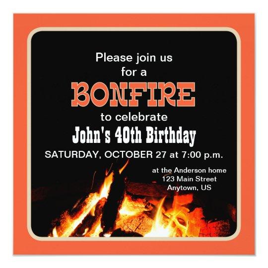 bonfire birthday party invitation zazzle com