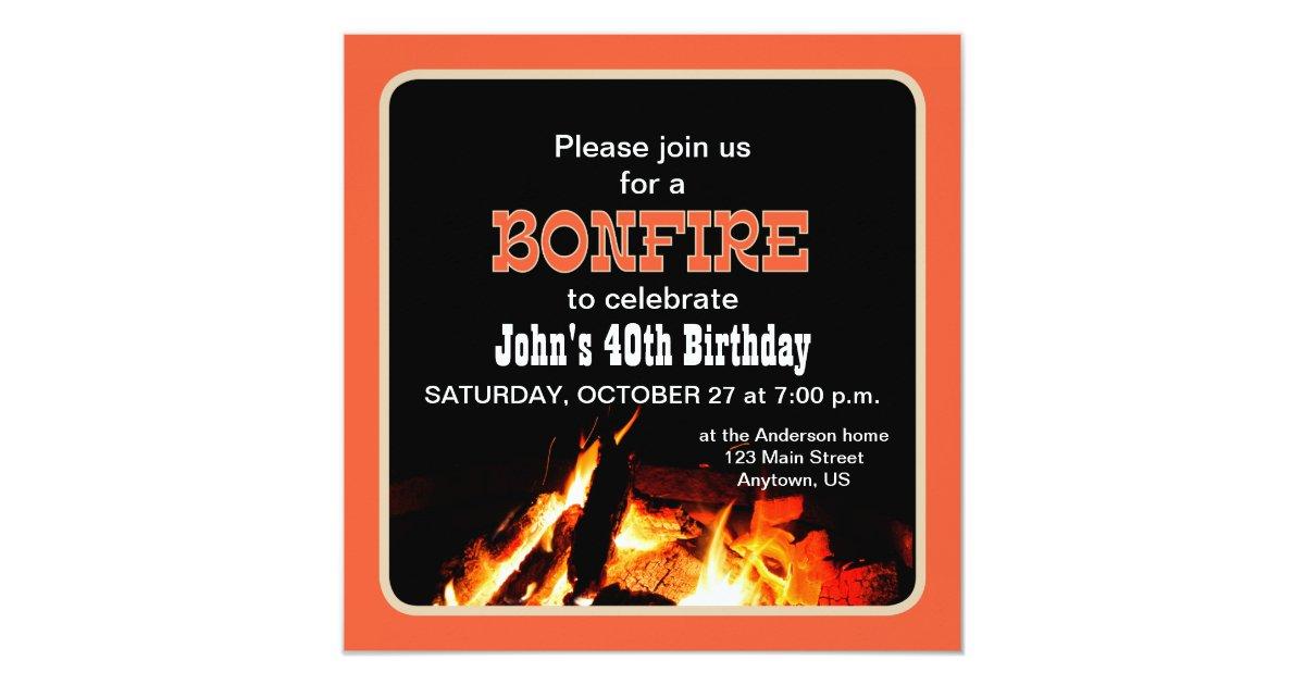 Bonfire Birthday Party invitation | Zazzle.com