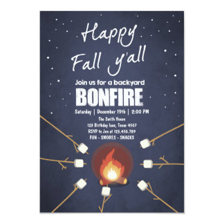 Bonfire Campfire BBQ It's Fall y'all Invitation