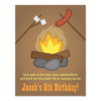 Bonfire Camping Birthday Party 4.25x5.5 Paper Invitation Card