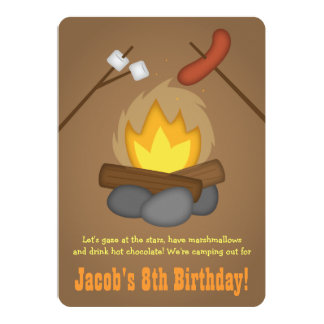 Bonfire Camping Birthday Party Card