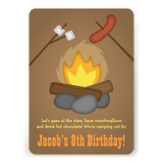 Bonfire Camping Birthday Party Cards