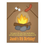 Bonfire Camping Birthday Party 4.25x5.5 Paper Invitation Card