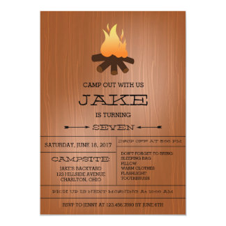 Bonfire Camping Out Birthday Party Invitations