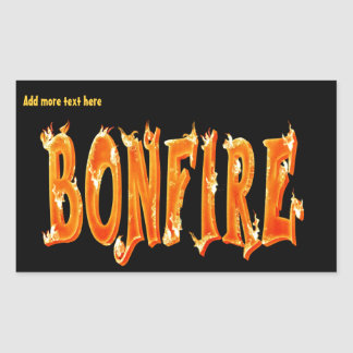 Bonfire fire text rectangular sticker