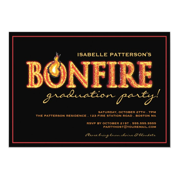 Bonfire Flames Graduation Party Invitation | Zazzle