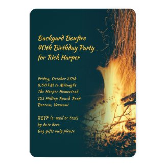 Bonfire Guys Fall Birthday Party Invitation