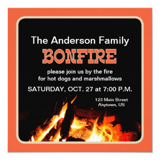 Bonfire 5.25x5.25 Square Paper Invitation Card