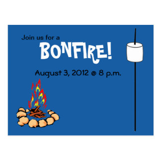 BONFIRE & marshmallow invites Postcard