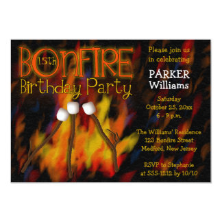 Bonfire Marshmellow Roast 15th Birthday Party Card