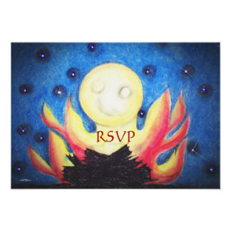 Bonfire Moon Samhain Witch Wiccan Pagan RSVP Personalized Invitations