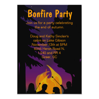"Bonfire Outdoor Party Invitation 4.5"" X 6.25"" Invitation Card"