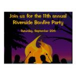 Bonfire Outdoor Party Postcard Invitation