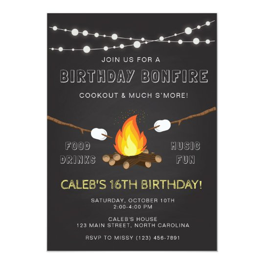 Bonfire Party Invitation Birthday Camp Out Invitation Zazzle Com