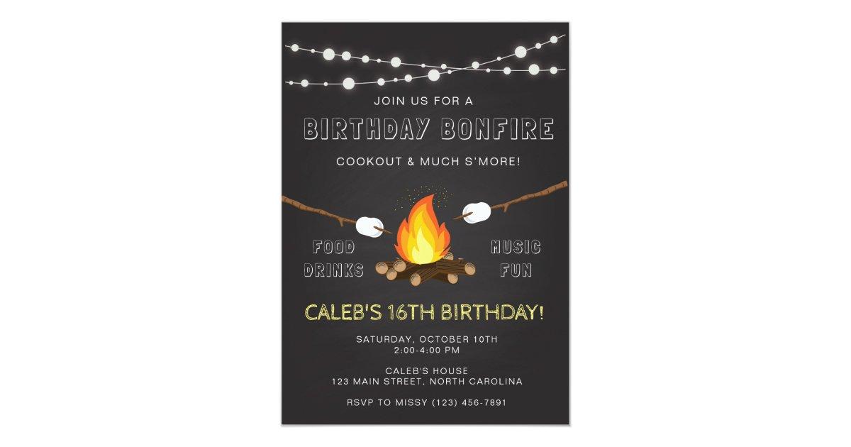 Bonfire Party Invitation, Birthday, Camp out Invitation | Zazzle.com