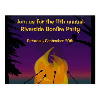 Bonfire Party Postcard Invitation
