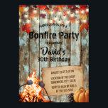 "Bonfire Party Rustic Autumn Leaves Barn Birthday Invitation<br><div class=""desc"">Rustic Autumn Leaves Barn Wood String Lights Bonfire Birthday Party Invitations.</div>"