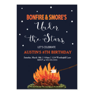 Bonfire & Smore's Birthday Invitation