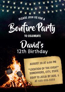 Bonfire Smores Camping Birthday Party Invitation