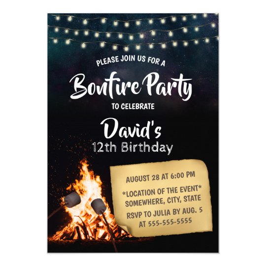bonfire s mores camping birthday party invitation zazzle com