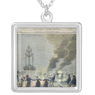 Bonfires lit to celebrate the summer solstice in silver plated necklace