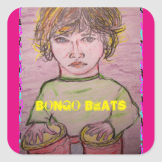 bongo beats square sticker