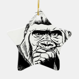 Bongo Gorilla Double-Sided Star Ceramic Christmas Ornament