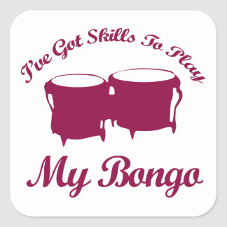bongo musical designs square sticker