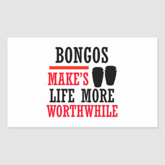 bongos design rectangular sticker