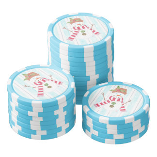 Bonhomme de neige  blue and white clay poker chips