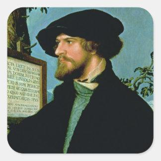 Bonifacio Amerbach, 1519 (aceite en madera de Calcomanías Cuadradas Personalizadas
