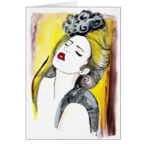 bonita, painting, beautiful, female, pretty, glamor, portrait, fashion, girl, artsprojekt, Card with custom graphic design