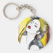 bonita, painting, beautiful, female, pretty, glamor, portrait, fashion, girl, artsprojekt, Keychain with custom graphic design