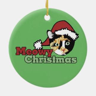 Bonita Merry Christmas Meow Cat Double-Sided Ceramic Round Christmas Ornament