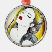 bonita, painting, beautiful, female, pretty, glamor, portrait, fashion, girl, artsprojekt, Ornamento com design gráfico personalizado