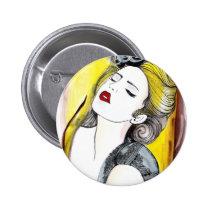 bonita, painting, beautiful, female, pretty, glamor, portrait, fashion, girl, artsprojekt, Button with custom graphic design