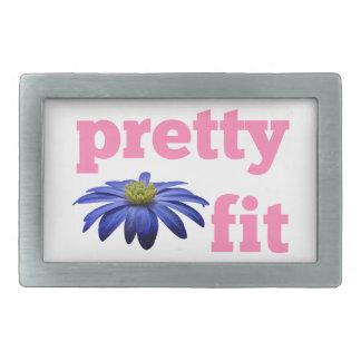 Bonito cabido con la flor azul hebilla cinturón rectangular
