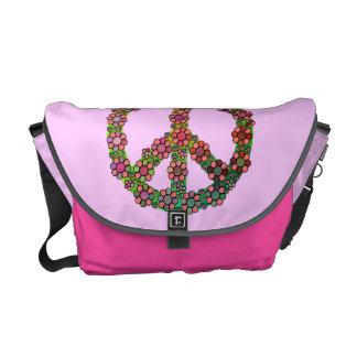 Bonito del rosa del símbolo del signo de la paz de bolsa de mensajeria